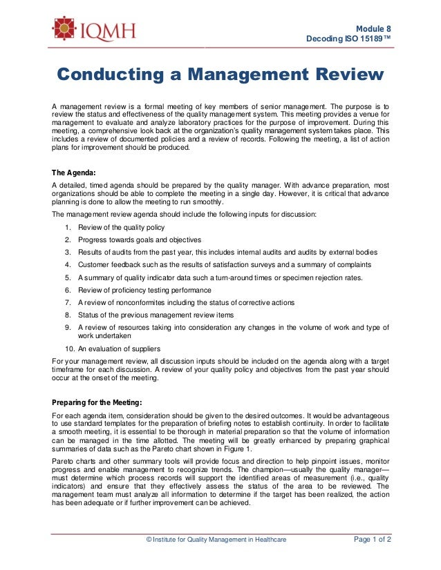 Conducting Management Review