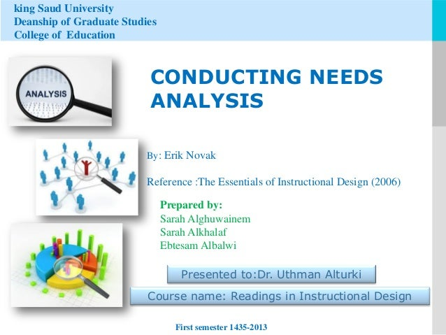 king Saud University Deanship of Graduate Studies College of Education  CONDUCTING NEEDS ANALYSIS By: Erik Novak  Referenc...