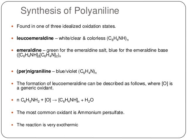 synthesis of polyaneline Carbon nanotubes/polyaniline (cnt/pani) nanocomposites were synthesized by the interfacial polymerization of aniline in the presence of cnts using two green solvents, water and an ionic liquid (1-butyl-3-methylimidazolium tetrafluoroborate, [bmim][bf4]), as the two phases.