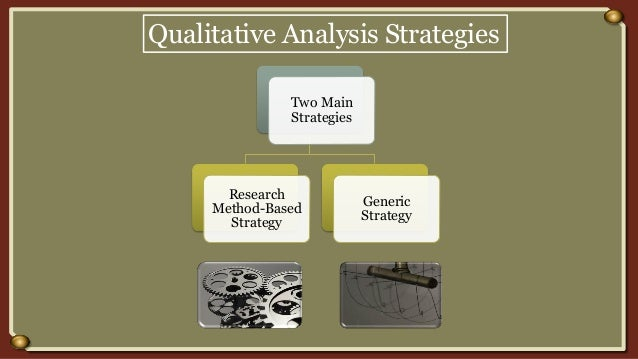 Qualitative Analysis Strategies Two Main Strategies Research Method-Based Strategy Generic Strategy