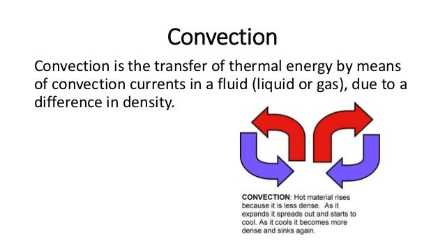 Conduction vs Convection • In conduction, thermal energy is transferred from one particle to another. • In convection, the...
