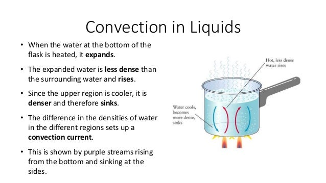 Convection in Gases • When the air above the candle is heated, it expands. • The expanded air is less dense than the surro...