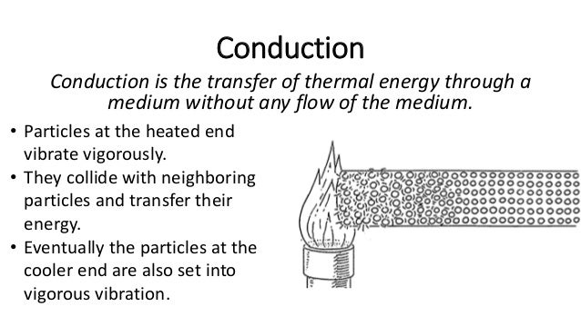Conduction Heat from the source as causing the atoms of the solid to vibrate and gain kinetic energy.
