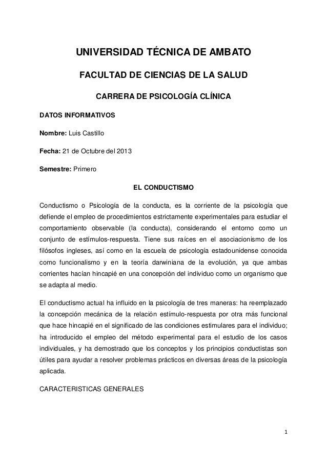 UNIVERSIDAD TÉCNICA DE AMBATO FACULTAD DE CIENCIAS DE LA SALUD CARRERA DE PSICOLOGÍA CLÍNICA DATOS INFORMATIVOS Nombre: Lu...