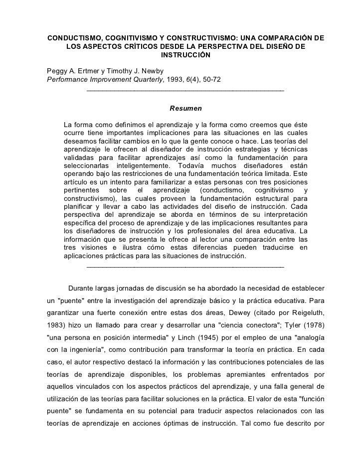 CONDUCTISMO, COGNITIVISMO Y CONSTRUCTIVISMO: UNA COMPARACIÓN DE    LOS ASPECTOS CRÍTICOS DESDE LA PERSPECTIVA DEL DISEÑO D...