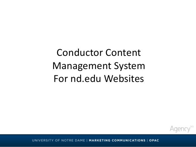 Conductor Content Management System For nd.edu Websites