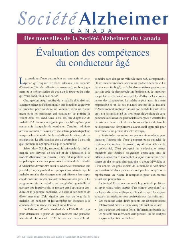 30 • La Revue canadienne de la maladie d'Alzheimer et autres démences Communicating the Diagnosis of La conduite d'une aut...