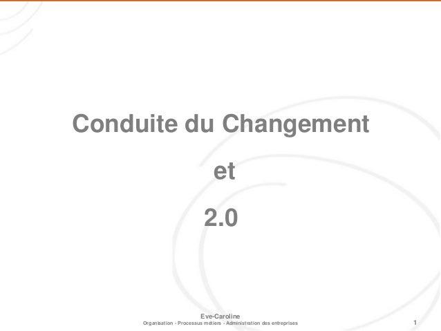1 Eve-Caroline Organisation - Processus métiers - Administration des entreprises Conduite du Changement et 2.0