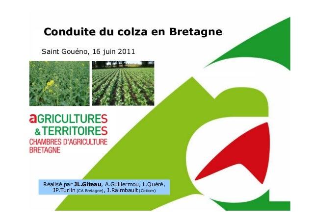 Conduite du colzaConduite du colza en Bretagne Saint Gouéno, 16 juin 2011 Réalisé par JL.Giteau, A.Guillermou, L.Quéré, JP...
