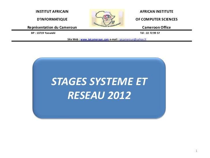 INSTITUT AFRICAIN                                                       AFRICAN INSTITUTE      D'INFORMATIQUE             ...