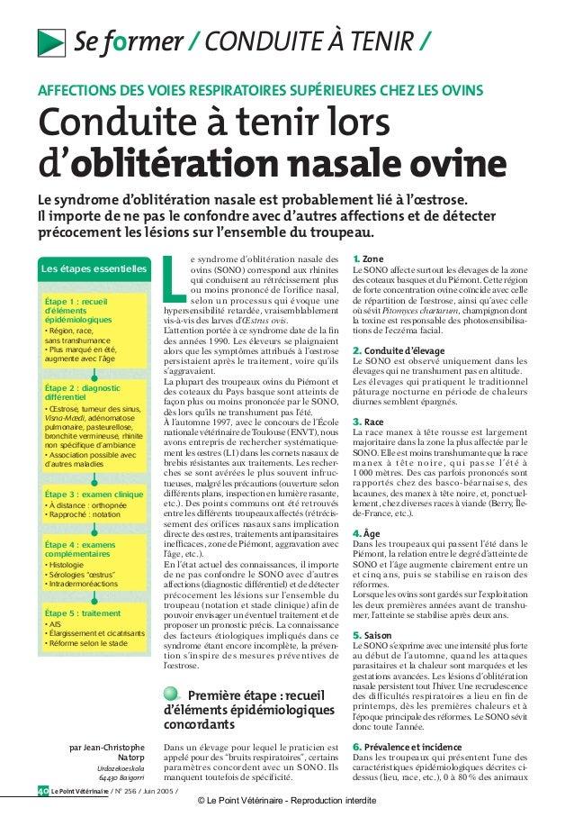 Le Point Vétérinaire / N° 256 / Juin 2005 /40 Se former / CONDUITE ÀTENIR / Le syndrome d'oblitération nasale est probable...
