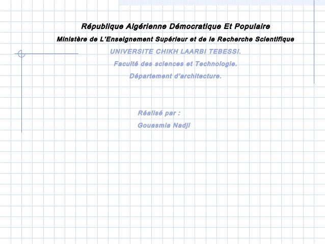 République Algérienne Démocratique Et Populaire Ministère de L'Enseignement Supérieur et de le Recherche Scientifique UNIV...