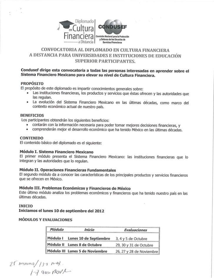 CONVOCATORIA AL DIPLOMADO EN CULTURA FINANCIERA A DISTANCIA PARA UNIVERSIDADES E INSTITUCIONES DE EDUCACIÓN SUPERIOR PARTI...