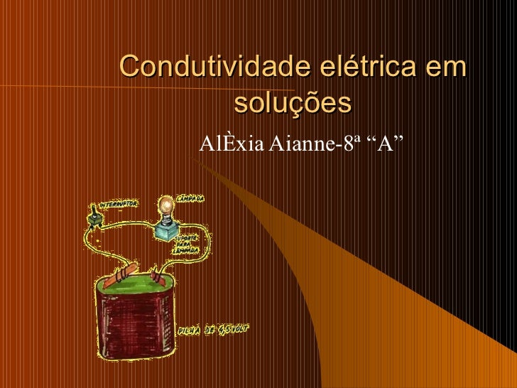 """Condutividade elétrica em soluções Aléxia Aianne-8ª """"A"""""""