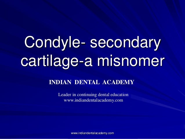 Condyle- secondary cartilage-a misnomer INDIAN DENTAL ACADEMY Leader in continuing dental education www.indiandentalacadem...