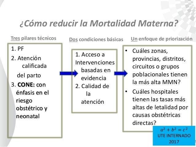 Tres pilares técnicos 1. PF 2. Atención calificada del parto 3. CONE: con énfasis en el riesgo obstétrico y neonatal Un en...
