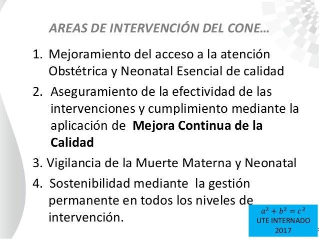 AREAS DE INTERVENCIÓN DEL CONE… 1. Mejoramiento del acceso a la atención Obstétrica y Neonatal Esencial de calidad 2. Aseg...
