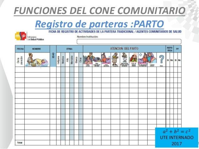 FUNCIONES DEL CONE COMUNITARIO Registro de parteras :PARTO 𝑎2 + 𝑏2 = 𝑐2 UTE INTERNADO 2017