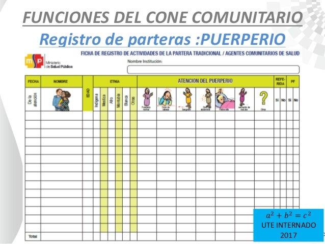 FUNCIONES DEL CONE COMUNITARIO Registro de parteras :PUERPERIO 𝑎2 + 𝑏2 = 𝑐2 UTE INTERNADO 2017
