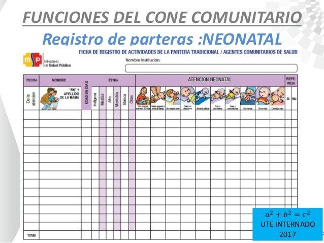 FUNCIONES DEL CONE COMUNITARIO Registro de parteras :NEONATAL 𝑎2 + 𝑏2 = 𝑐2 UTE INTERNADO 2017