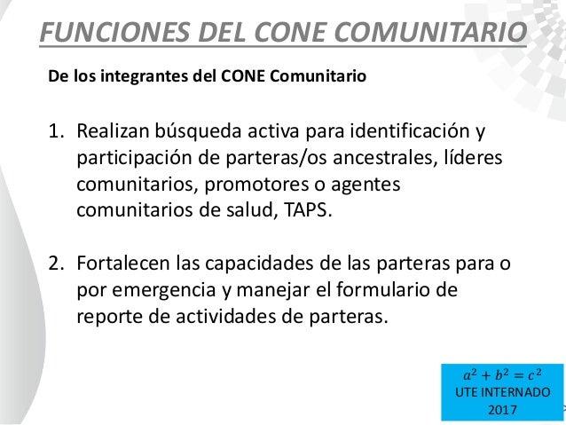 FUNCIONES DEL CONE COMUNITARIO 1. Realizan búsqueda activa para identificación y participación de parteras/os ancestrales,...