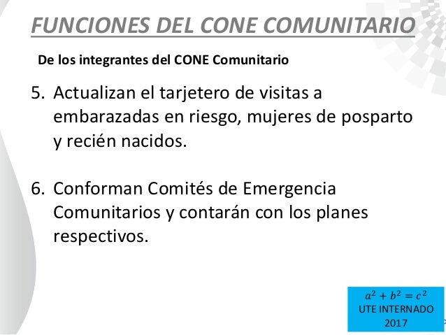 FUNCIONES DEL CONE COMUNITARIO De los integrantes del CONE Comunitario 5. Actualizan el tarjetero de visitas a embarazadas...