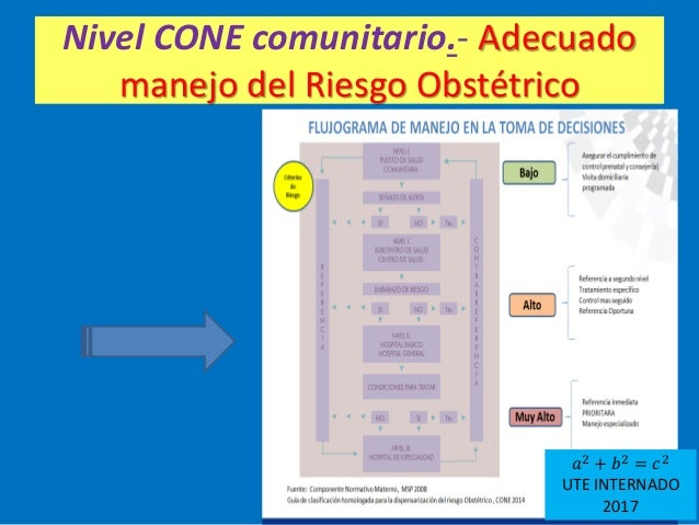 Nivel CONE comunitario.- Adecuado manejo del Riesgo Obstétrico 𝑎2 + 𝑏2 = 𝑐2 UTE INTERNADO 2017