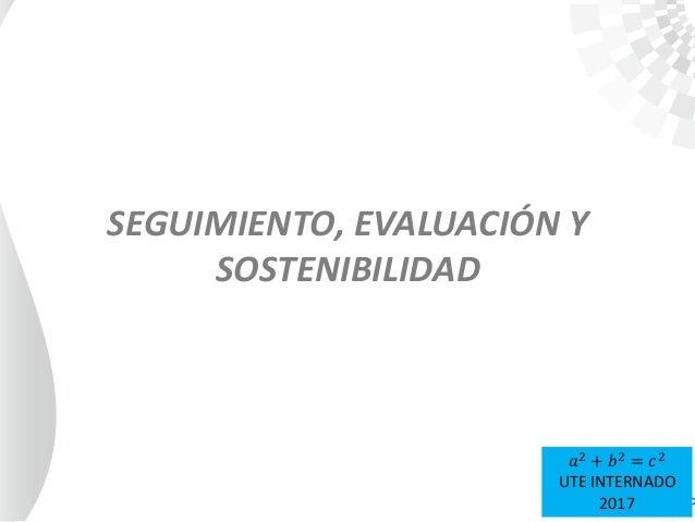 SEGUIMIENTO, EVALUACIÓN Y SOSTENIBILIDAD 𝑎2 + 𝑏2 = 𝑐2 UTE INTERNADO 2017
