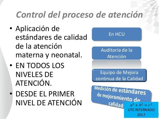 Control del proceso de atención • Aplicación de estándares de calidad de la atención materna y neonatal. • EN TODOS LOS NI...