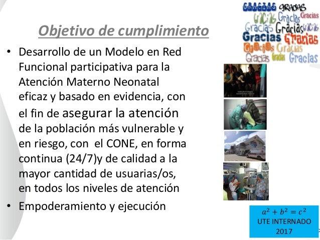 Objetivo de cumplimiento • Desarrollo de un Modelo en Red Funcional participativa para la Atención Materno Neonatal eficaz...