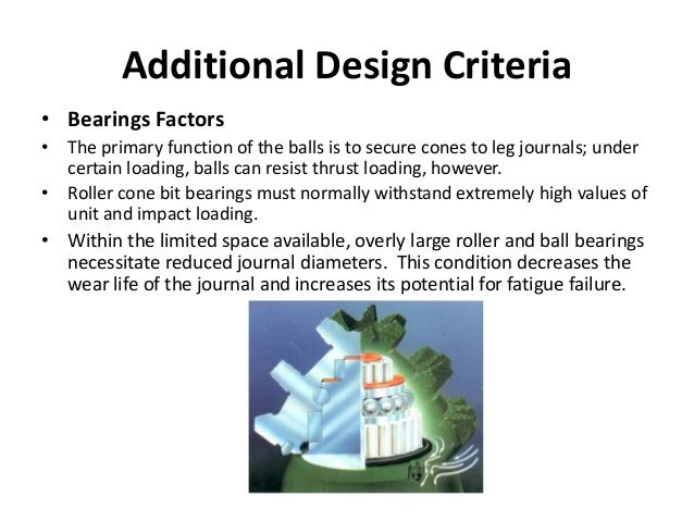 Additional Design Criteria • Bearings Factors • The primary function of the balls is to secure cones to leg journals; unde...