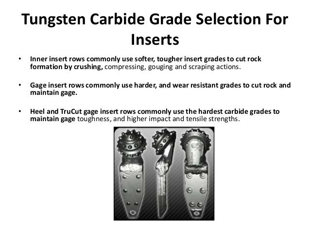 Tungsten Carbide Grade Selection For Inserts • Inner insert rows commonly use softer, tougher insert grades to cut rock fo...