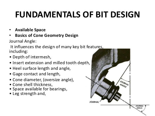 FUNDAMENTALS OF BIT DESIGN • Available Space • Basics of Cone Geometry Design Journal Angle: It influences the design of m...