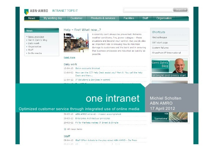 one intranet                    Michiel Scholten                                                                    ABN AM...