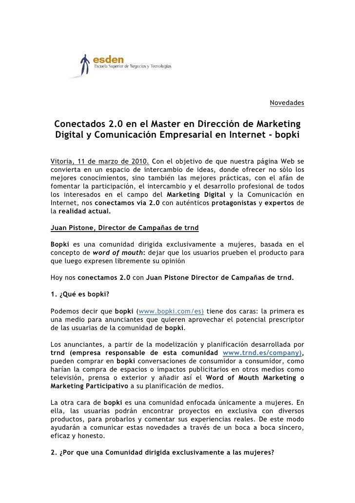 Novedades    Conectados 2.0 en el Master en Dirección de Marketing  Digital y Comunicación Empresarial en Internet - bopki...
