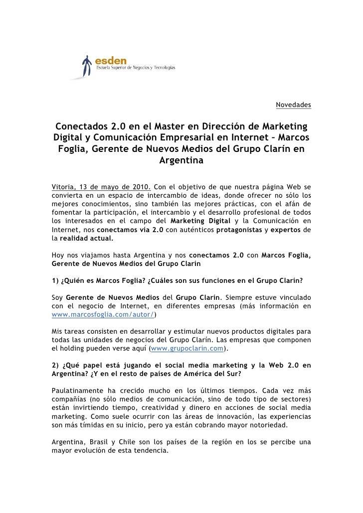 Novedades   Conectados 2.0 en el Master en Dirección de Marketing Digital y Comunicación Empresarial en Internet – Marcos ...