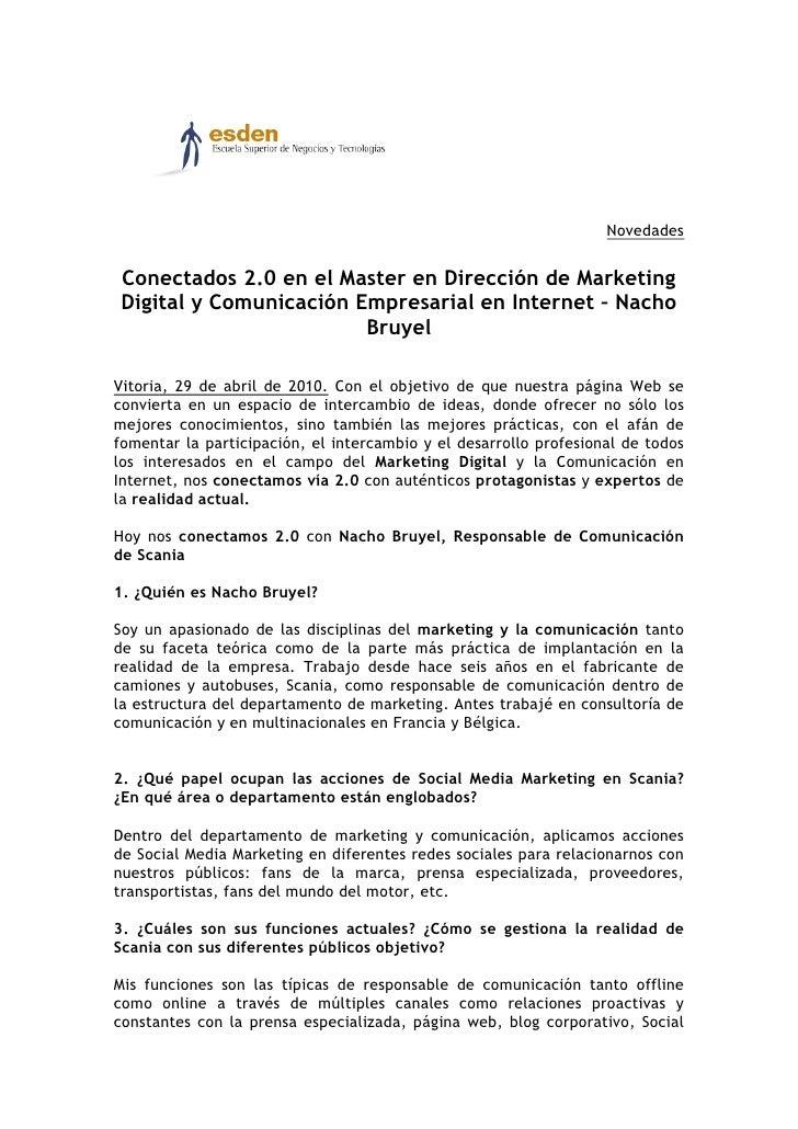 Novedades   Conectados 2.0 en el Master en Dirección de Marketing Digital y Comunicación Empresarial en Internet – Nacho  ...