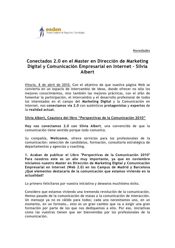 Novedades    Conectados 2.0 en el Master en Dirección de Marketing  Digital y Comunicación Empresarial en Internet – Silvi...