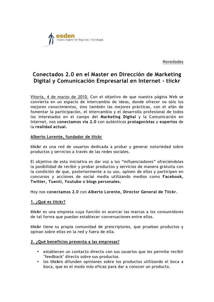 Novedades    Conectados 2.0 en el Master en Dirección de Marketing  Digital y Comunicación Empresarial en Internet - tiick...