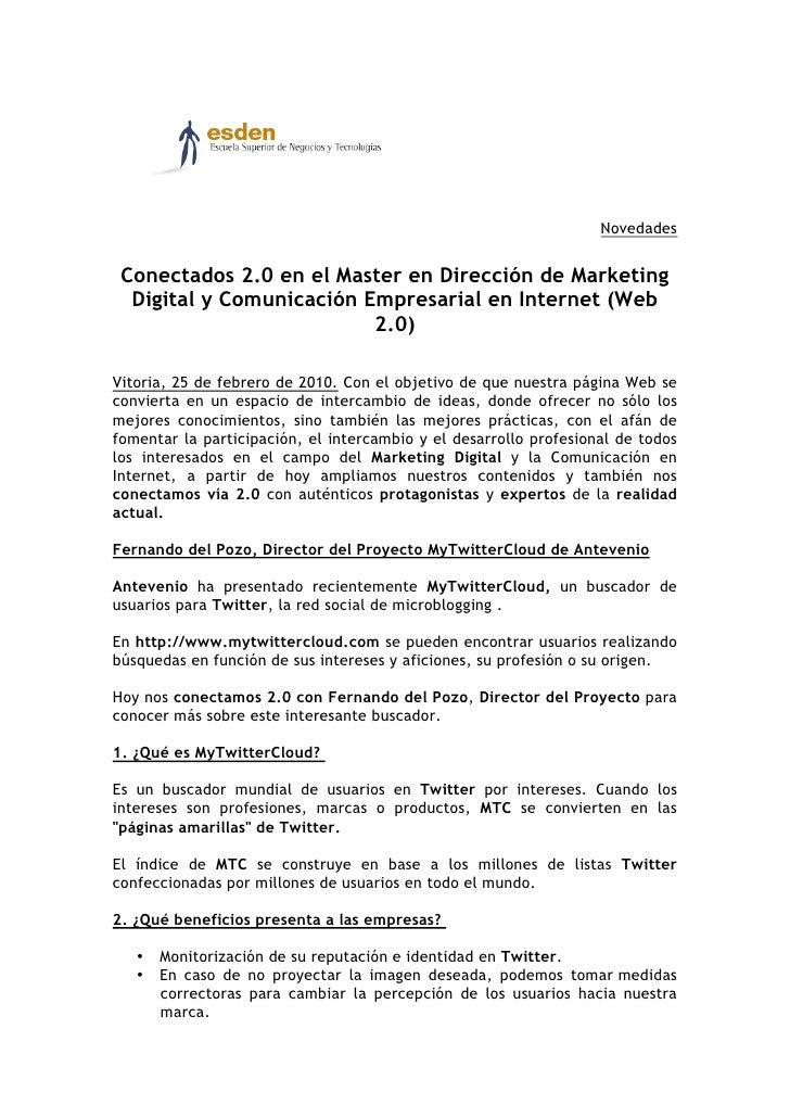 Novedades    Conectados 2.0 en el Master en Dirección de Marketing   Digital y Comunicación Empresarial en Internet (Web  ...