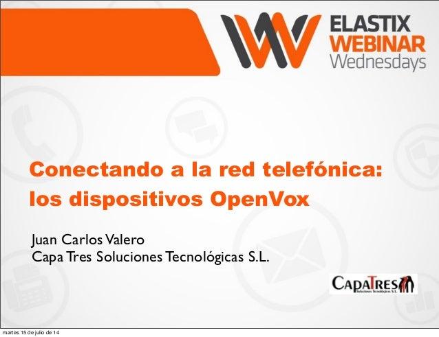 Conectando a la red telefónica: los dispositivos OpenVox Juan CarlosValero Capa Tres Soluciones Tecnológicas S.L. martes 1...