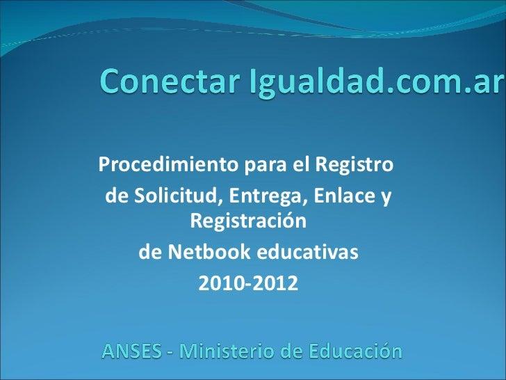 Procedimiento para el Registro  de Solicitud, Entrega, Enlace y Registración de Netbook educativas 2010-2012