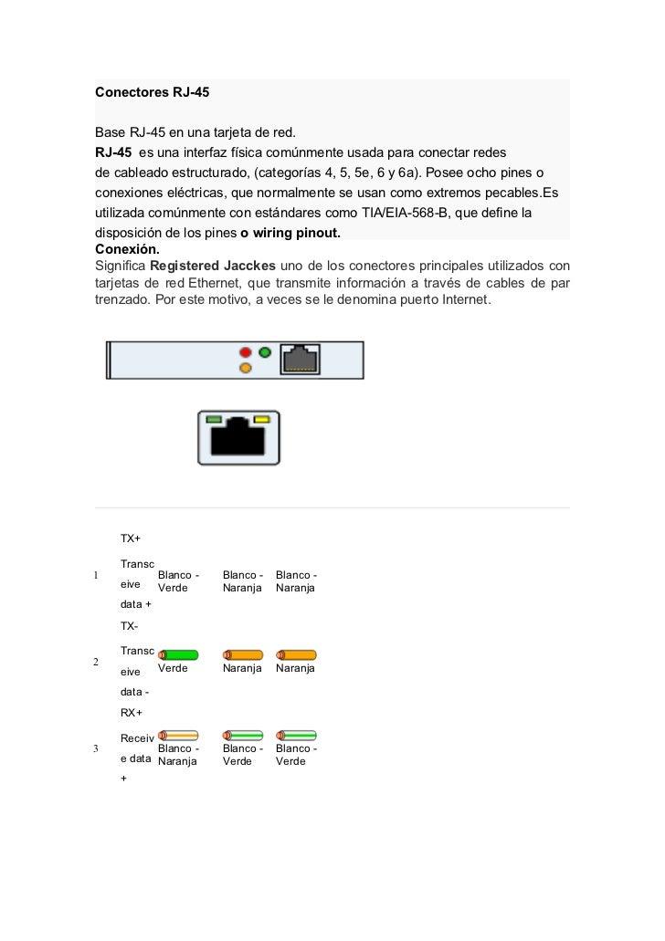 Conectores RJ-45Base RJ-45 en una tarjeta de red.RJ-45 es una interfaz física comúnmente usada para conectar redesde cable...