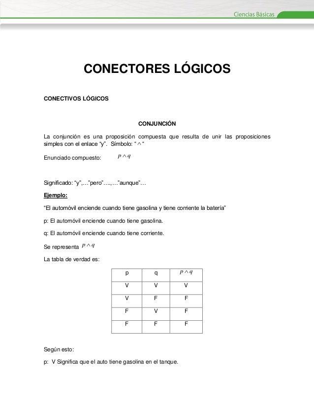 CONECTORES LÓGICOS CONECTIVOS LÓGICOS  CONJUNCIÓN La conjunción es una proposición compuesta que resulta de unir las propo...