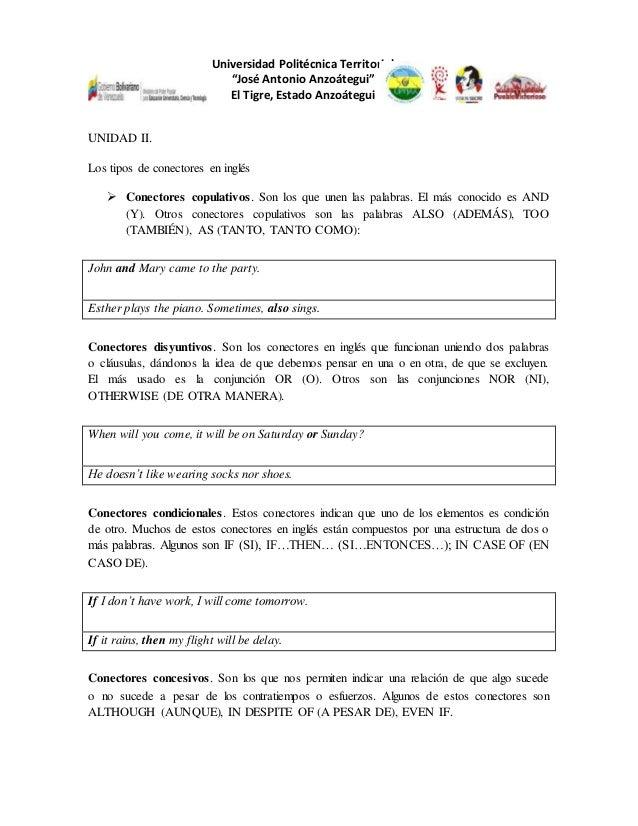 """Universidad Politécnica Territorial """"José Antonio Anzoátegui"""" El Tigre, Estado Anzoátegui UNIDAD II. Los tipos de conector..."""