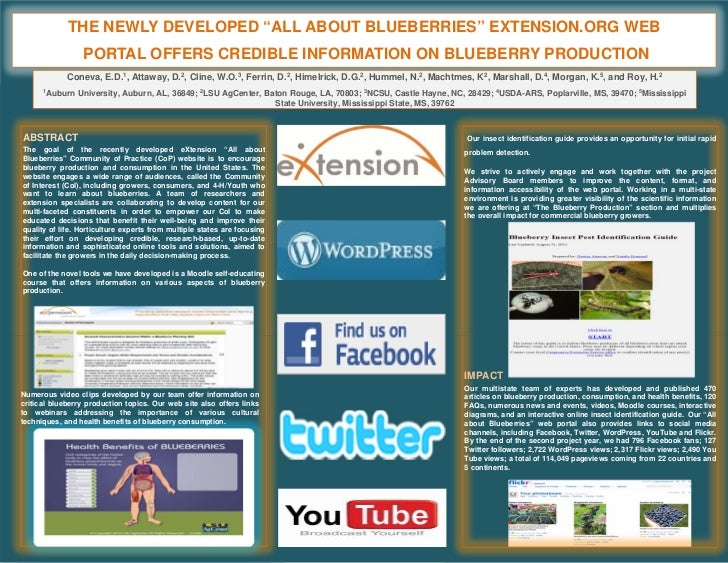 "THE NEWLY DEVELOPED ""ALL ABOUT BLUEBERRIES"" EXTENSION.ORG WEB                 PORTAL OFFERS CREDIBLE INFORMATION ON BLUEBE..."