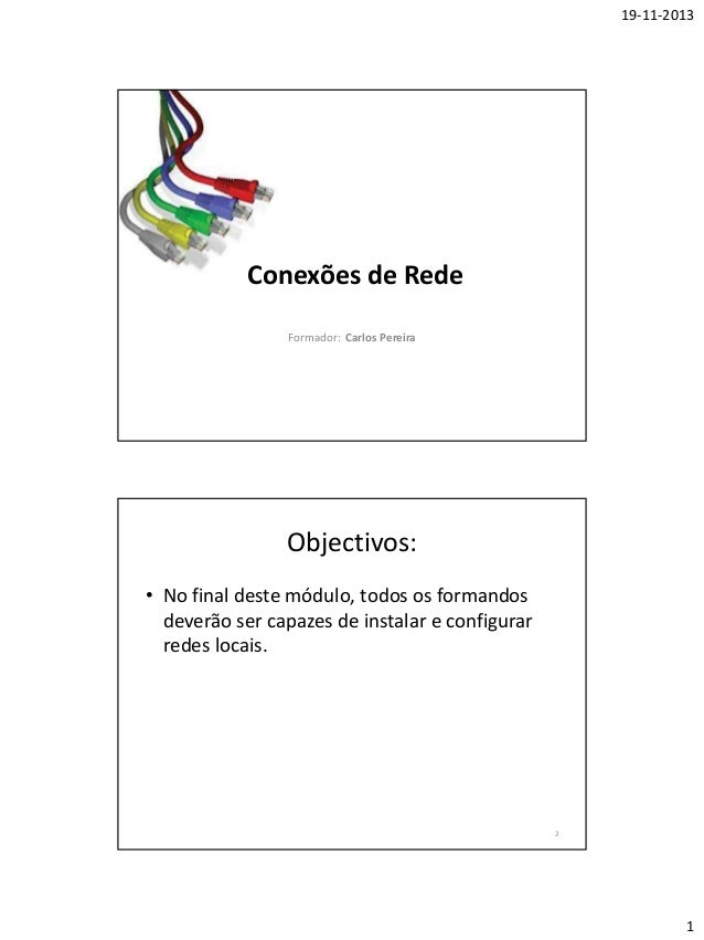 19-11-2013  Conexões de Rede Formador: Carlos Pereira  Objectivos: • No final deste módulo, todos os formandos deverão ser...