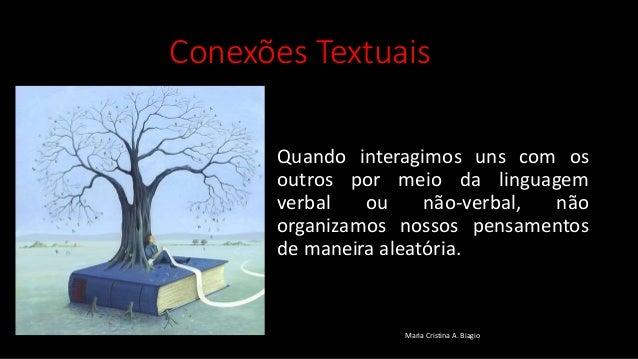 Conexões Textuais Quando interagimos uns com os outros por meio da linguagem verbal ou não-verbal, não organizamos nossos ...