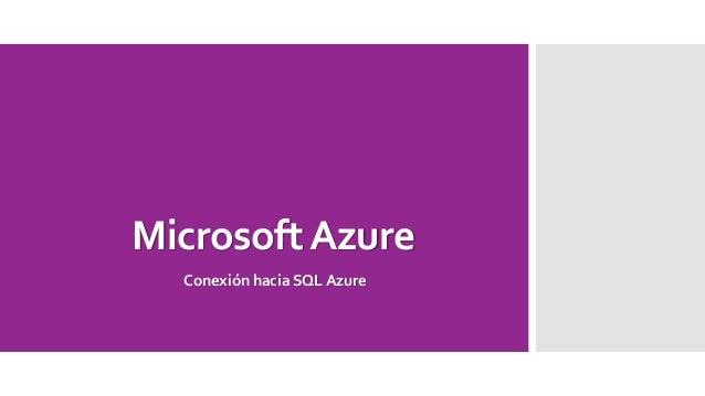 MicrosoftAzure Conexión hacia SQL Azure