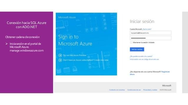 ConexiónhaciaSQLAzure conADO.NET Obtener cadena deconexión  Iniciasesiónenelportalde MicrosoftAzure. manage.windowsazure....